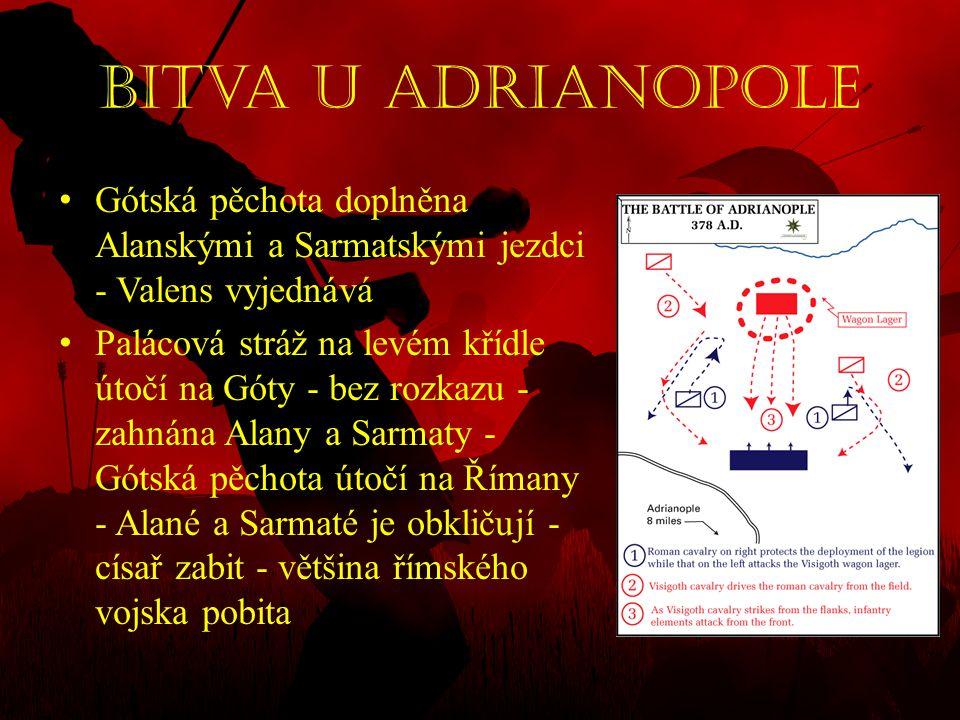 Bitva u Adrianopole Gótská pěchota doplněna Alanskými a Sarmatskými jezdci - Valens vyjednává.