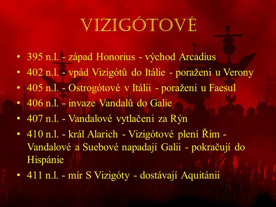 Vizigótové 395 n.l. - západ Honorius - východ Arcadius