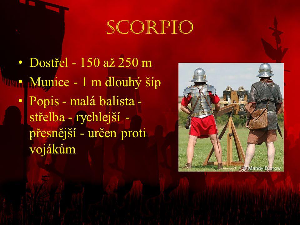 Scorpio Dostřel - 150 až 250 m Munice - 1 m dlouhý šíp