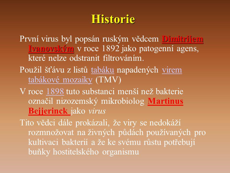 Historie První virus byl popsán ruským vědcem Dimitrijem Ivanovským v roce 1892 jako patogenní agens, které nelze odstranit filtrováním.