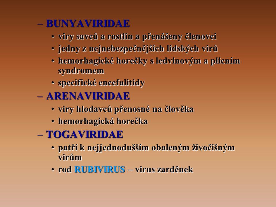 BUNYAVIRIDAE ARENAVIRIDAE TOGAVIRIDAE