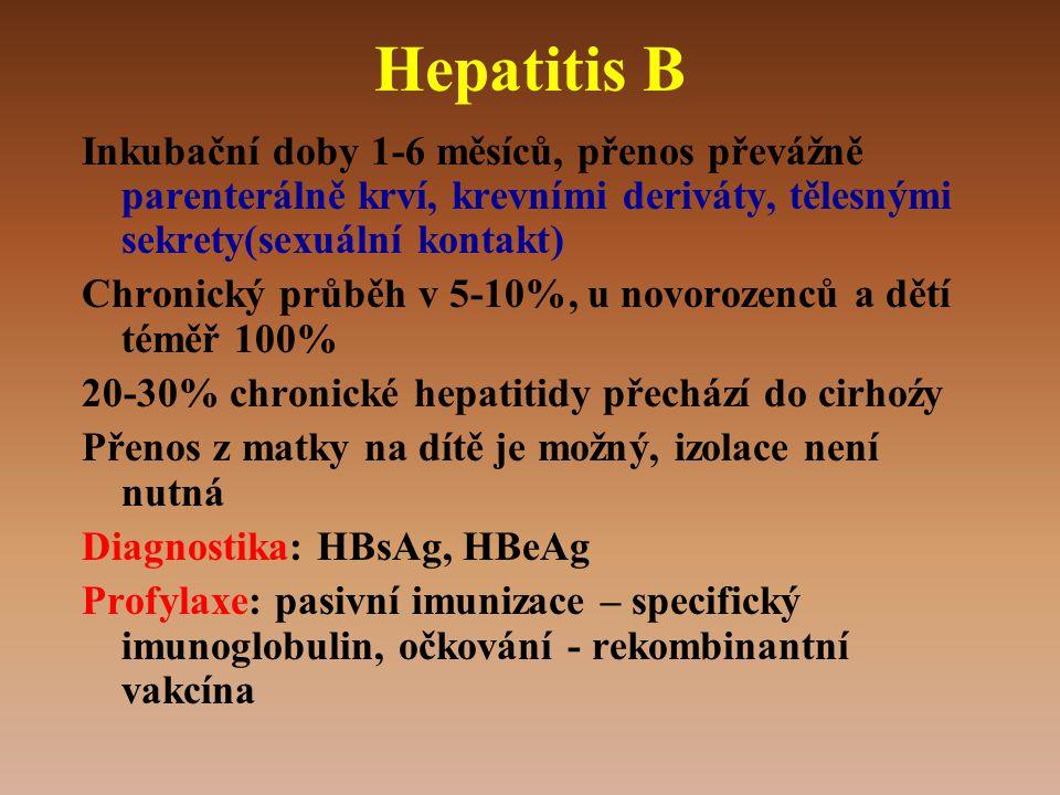 Hepatitis B Inkubační doby 1-6 měsíců, přenos převážně parenterálně krví, krevními deriváty, tělesnými sekrety(sexuální kontakt)