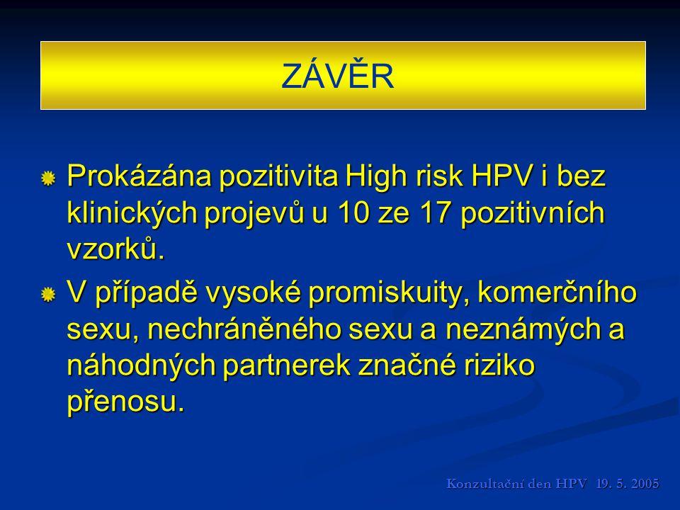 ZÁVĚR Prokázána pozitivita High risk HPV i bez klinických projevů u 10 ze 17 pozitivních vzorků.