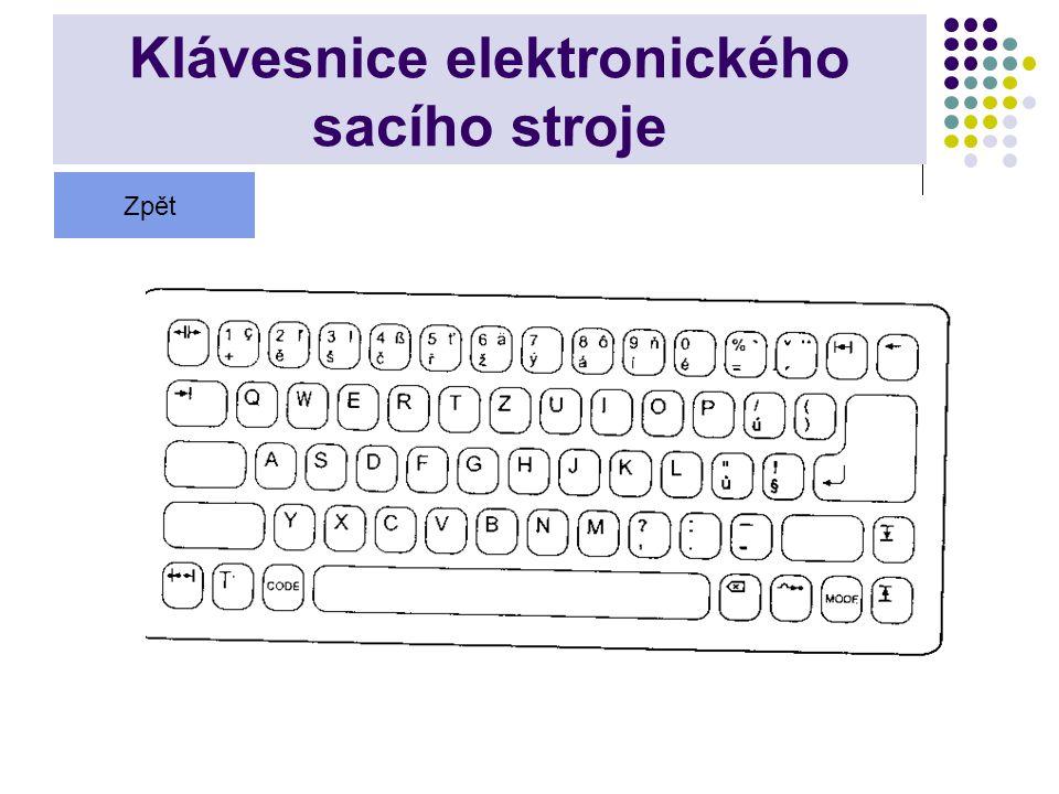 Klávesnice elektronického sacího stroje