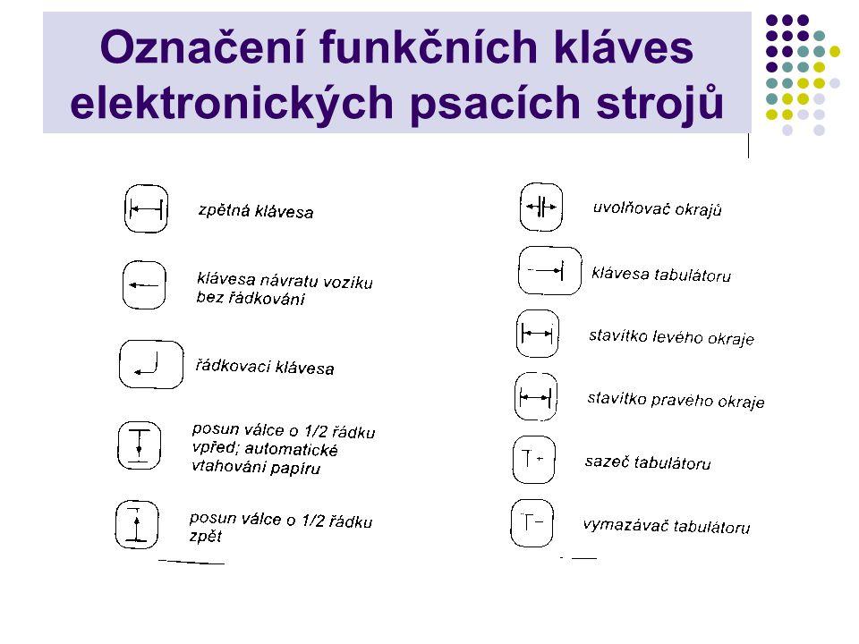Označení funkčních kláves elektronických psacích strojů
