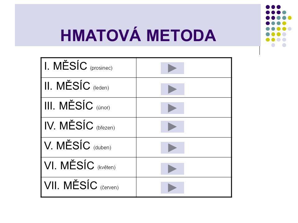 HMATOVÁ METODA I. MĚSÍC (prosinec) II. MĚSÍC (leden) III. MĚSÍC (únor)