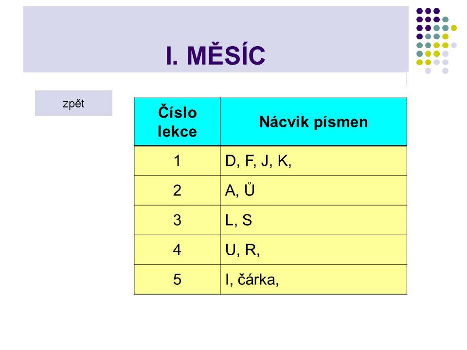 I. MĚSÍC Číslo lekce Nácvik písmen 1 D, F, J, K, 2 A, Ů 3 L, S 4 U, R,