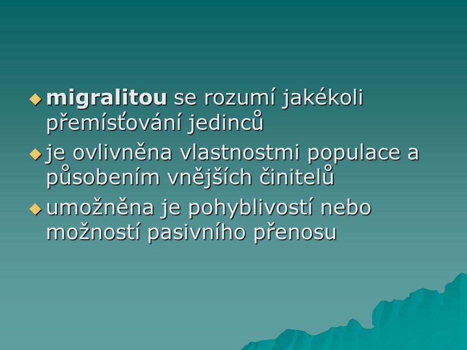 migralitou se rozumí jakékoli přemísťování jedinců