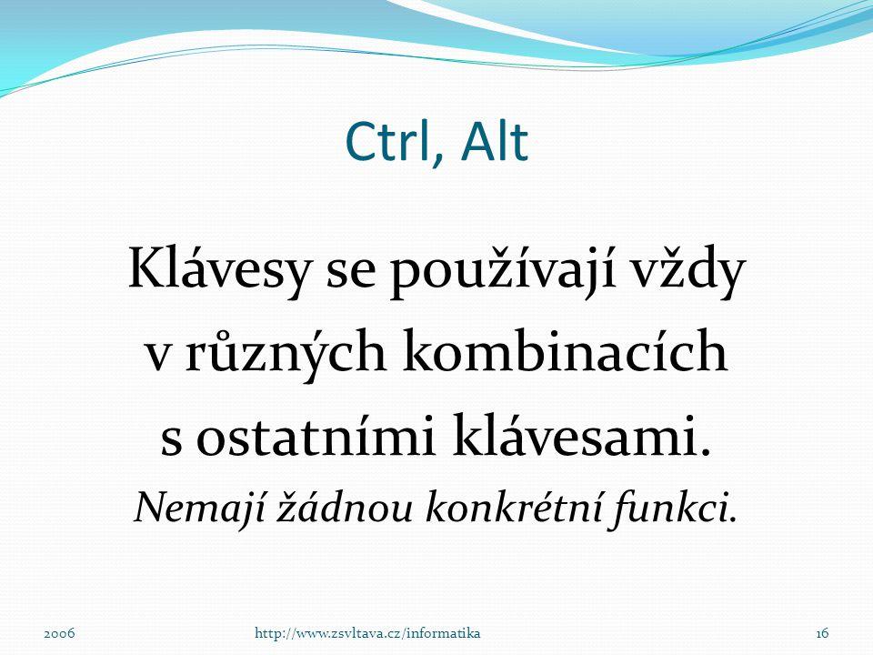 Ctrl, Alt Klávesy se používají vždy v různých kombinacích