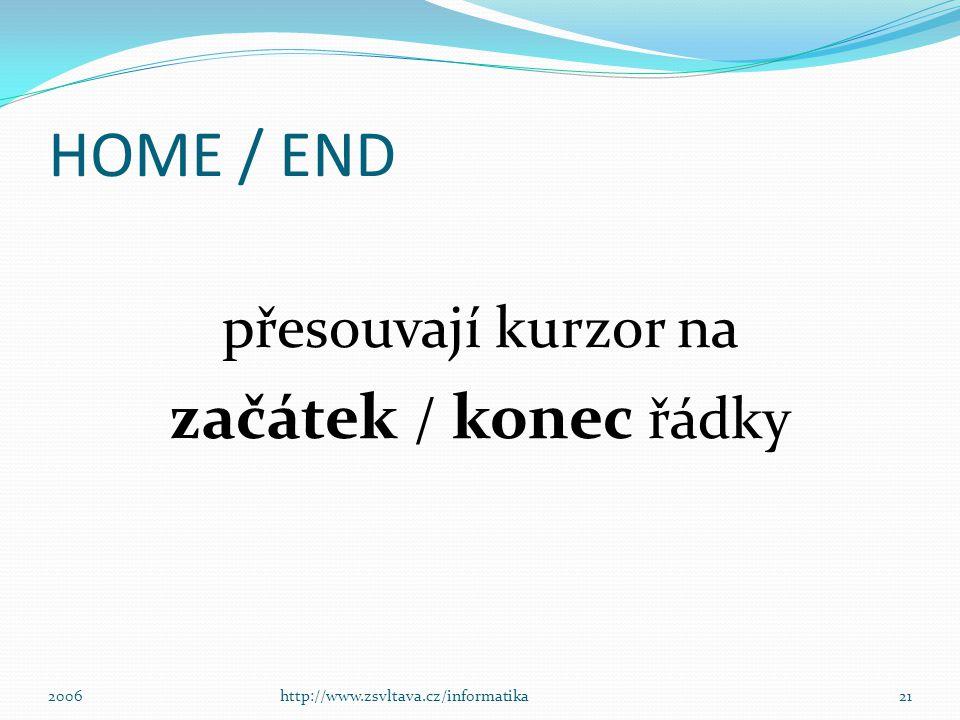 HOME / END začátek / konec řádky přesouvají kurzor na 2006