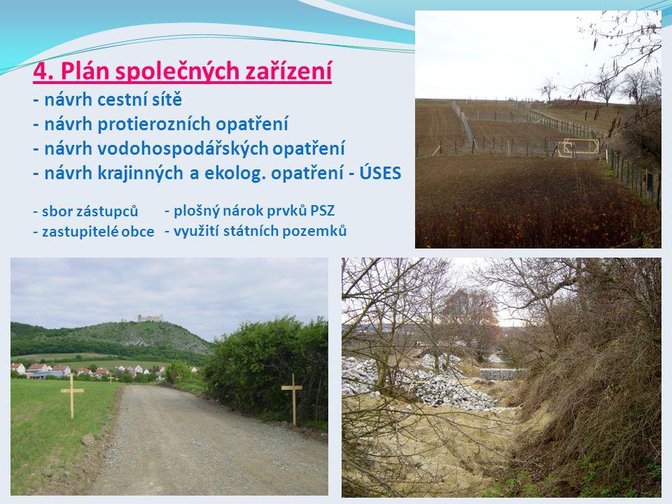 4. Plán společných zařízení - návrh cestní sítě - návrh protierozních opatření - návrh vodohospodářských opatření - návrh krajinných a ekolog. opatření - ÚSES