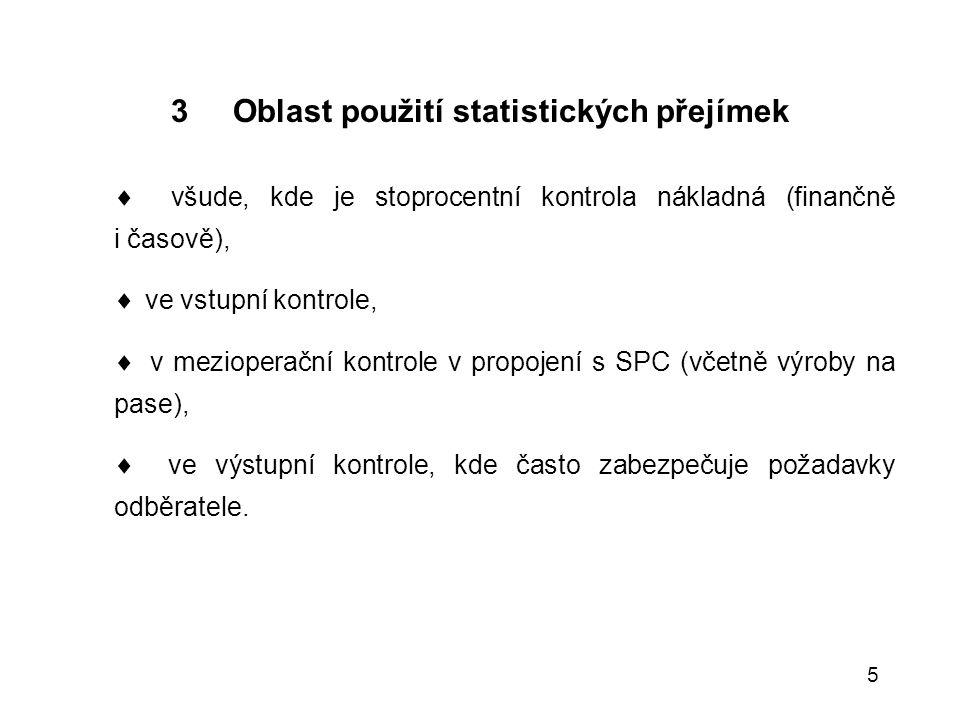 3 Oblast použití statistických přejímek
