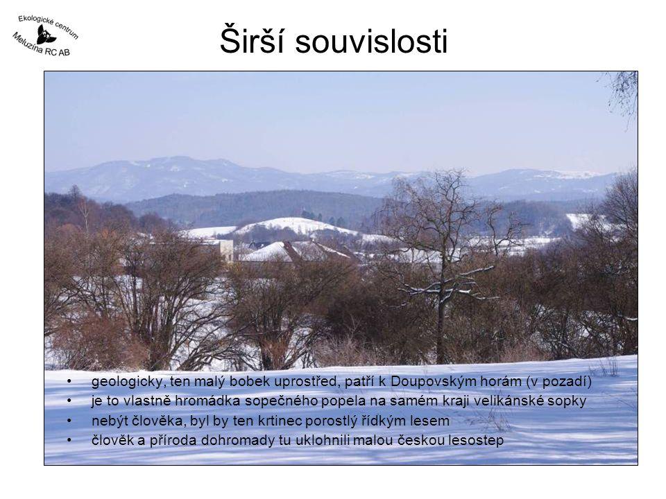 Širší souvislosti geologicky, ten malý bobek uprostřed, patří k Doupovským horám (v pozadí)