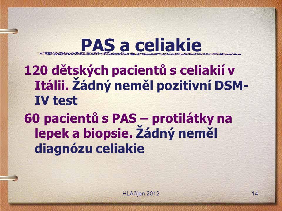 PAS a celiakie 120 dětských pacientů s celiakií v Itálii. Žádný neměl pozitivní DSM-IV test.