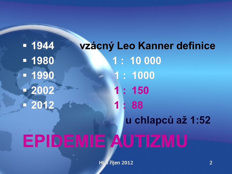 EPIDEMIE AUTIZMU 1944 vzácný Leo Kanner definice 1980 1 : 10 000