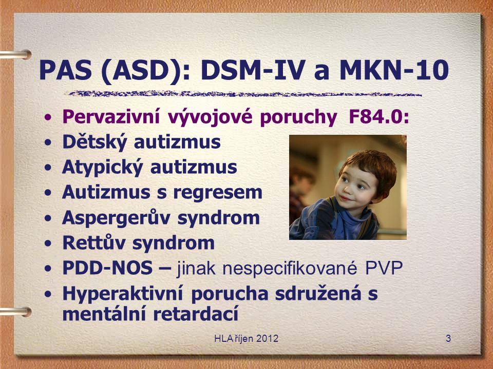 PAS (ASD): DSM-IV a MKN-10
