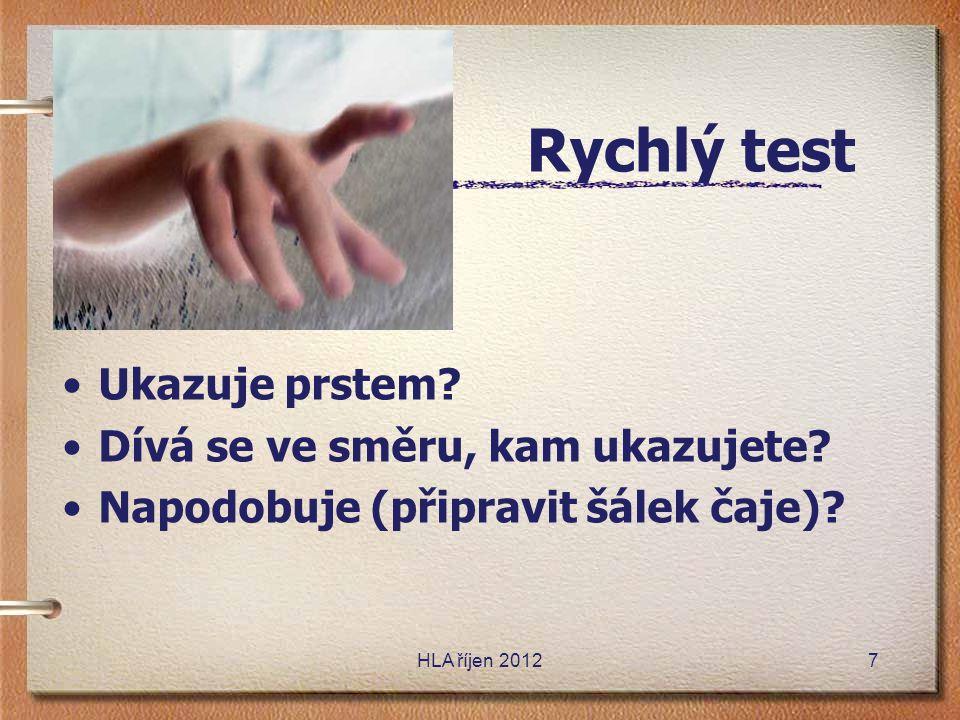 Rychlý test Ukazuje prstem Dívá se ve směru, kam ukazujete