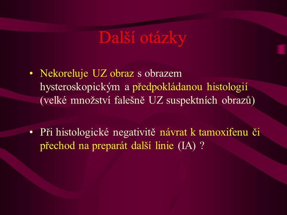 Další otázky Nekoreluje UZ obraz s obrazem hysteroskopickým a předpokládanou histologií (velké množství falešně UZ suspektních obrazů)