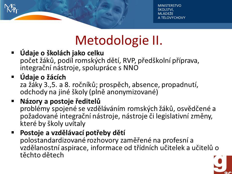 Metodologie II. Údaje o školách jako celku počet žáků, podíl romských dětí, RVP, předškolní příprava, integrační nástroje, spolupráce s NNO.