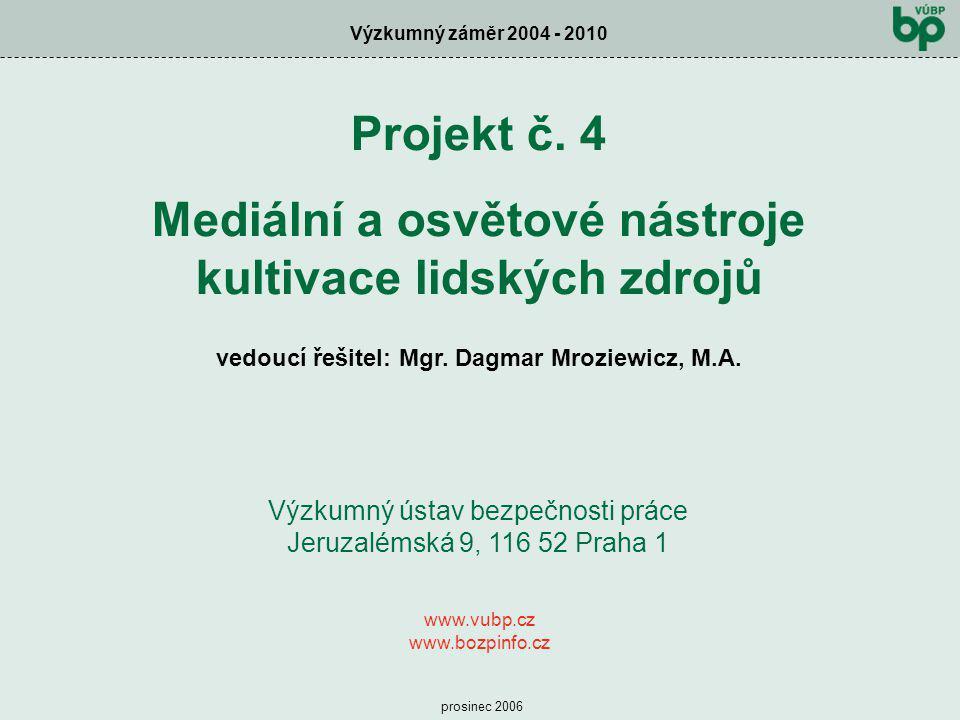 Projekt č. 4 Mediální a osvětové nástroje kultivace lidských zdrojů