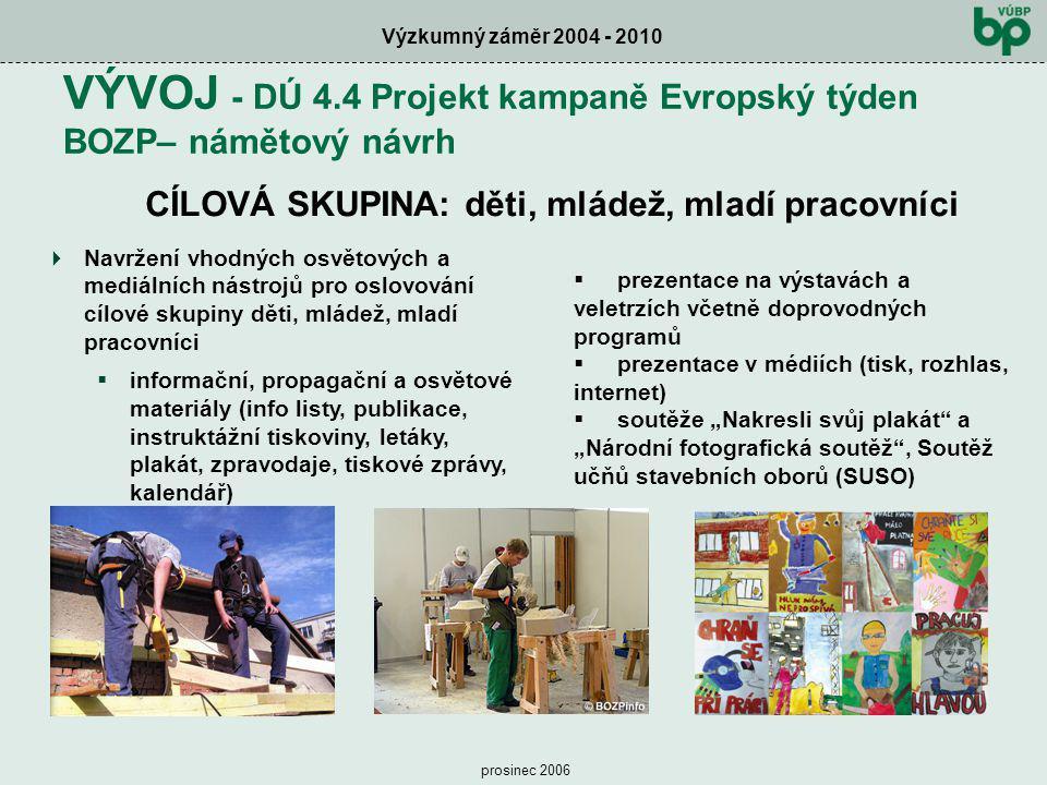 VÝVOJ - DÚ 4.4 Projekt kampaně Evropský týden BOZP– námětový návrh
