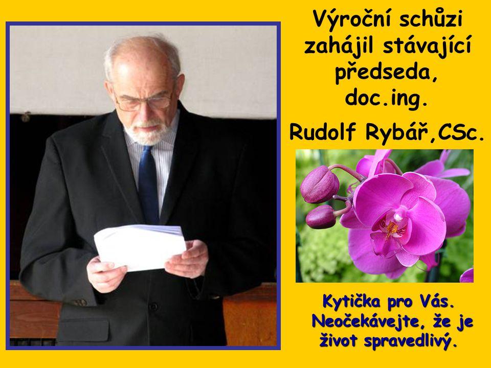 Výroční schůzi zahájil stávající předseda, doc.ing. Rudolf Rybář,CSc.