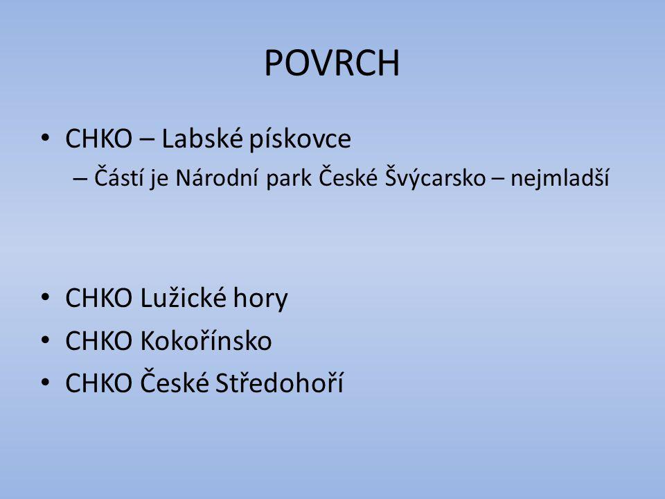 POVRCH CHKO – Labské pískovce CHKO Lužické hory CHKO Kokořínsko