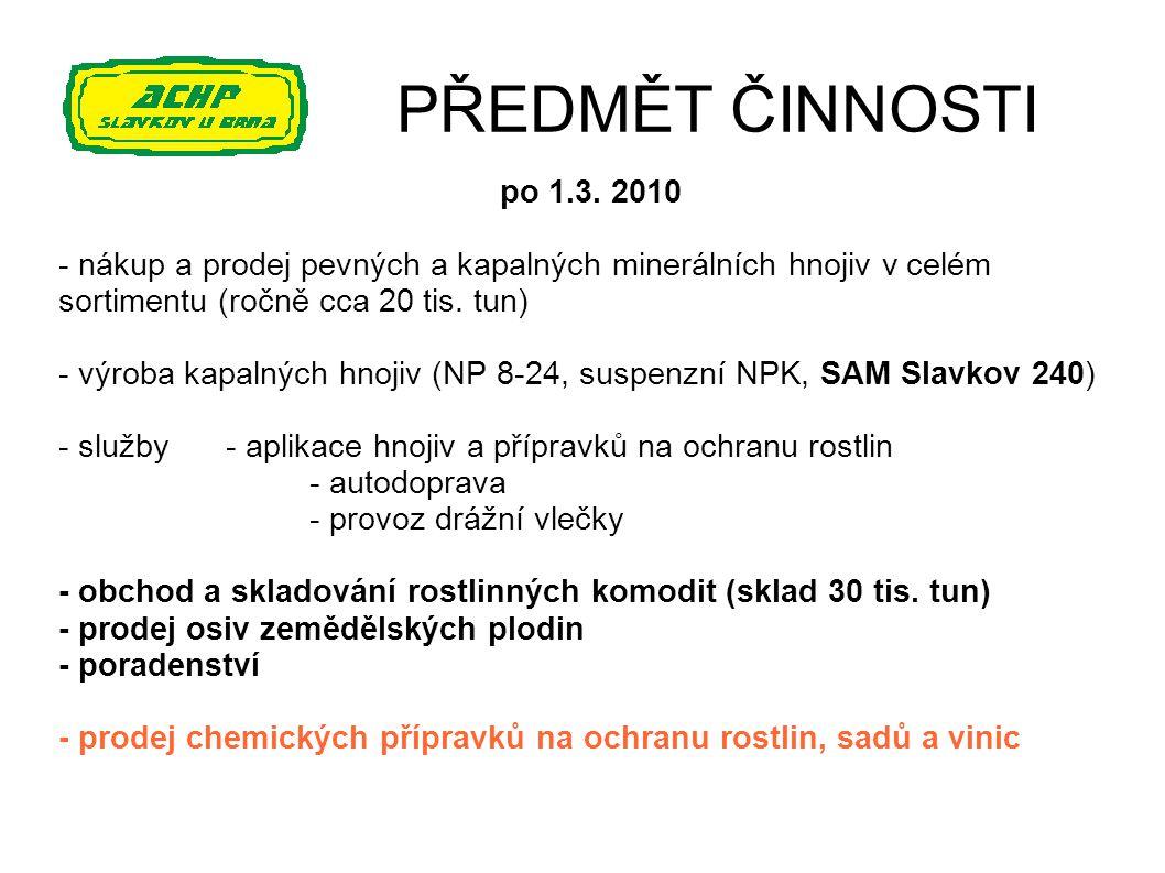 PŘEDMĚT ČINNOSTI po 1.3. 2010. - nákup a prodej pevných a kapalných minerálních hnojiv v celém sortimentu (ročně cca 20 tis. tun)