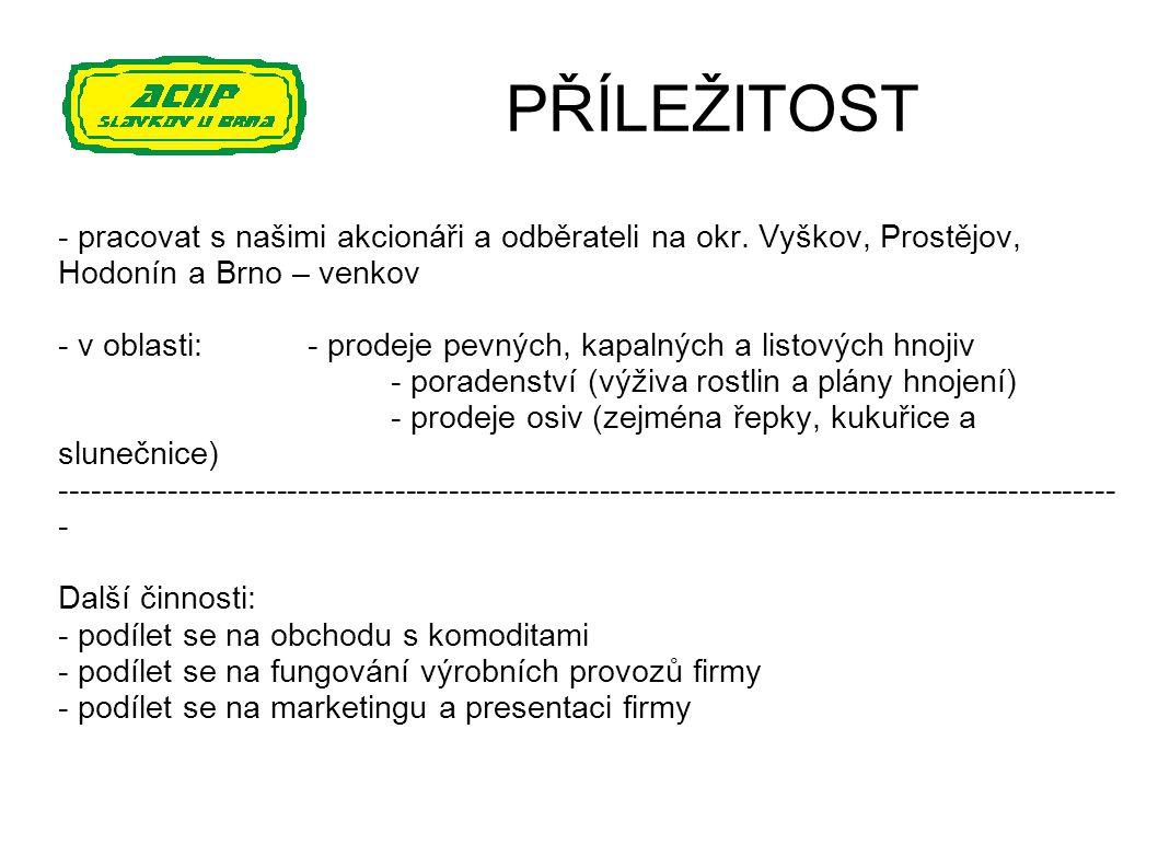 PŘÍLEŽITOST - pracovat s našimi akcionáři a odběrateli na okr. Vyškov, Prostějov, Hodonín a Brno – venkov.