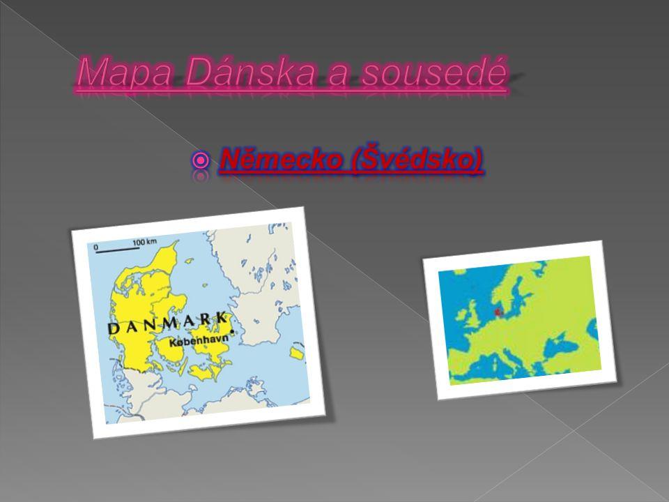 Mapa Dánska a sousedé Německo (Švédsko)