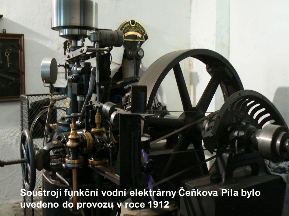Soustrojí funkční vodní elektrárny Čeňkova Pila bylo uvedeno do provozu v roce 1912