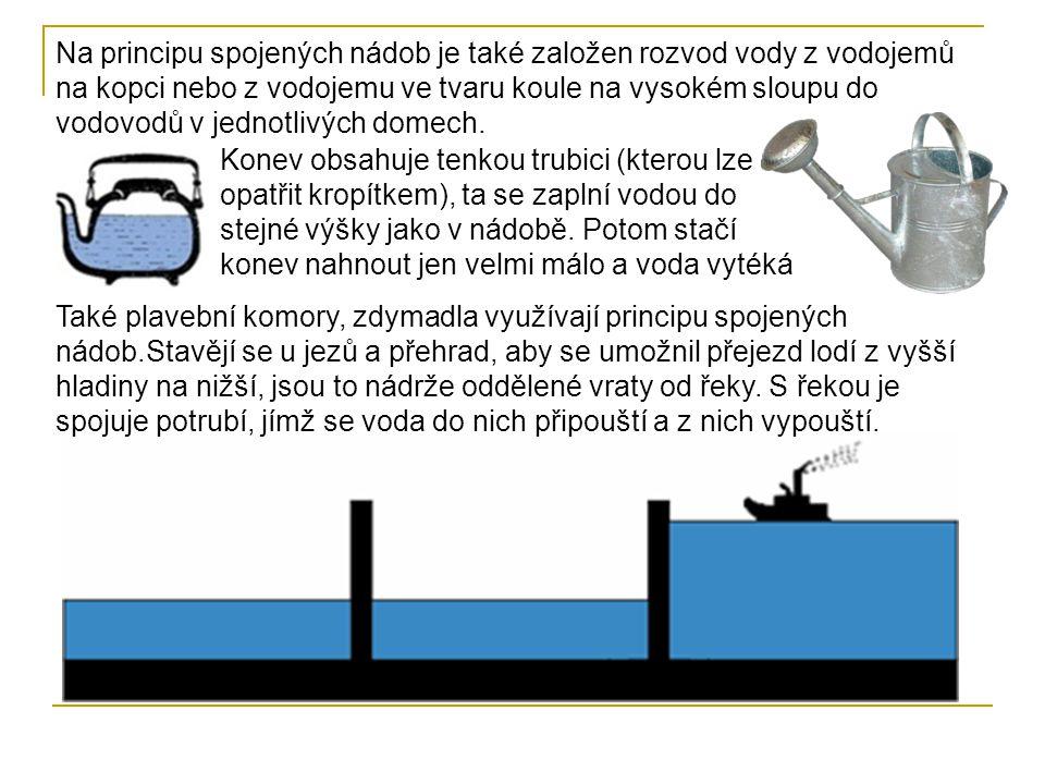 Na principu spojených nádob je také založen rozvod vody z vodojemů na kopci nebo z vodojemu ve tvaru koule na vysokém sloupu do vodovodů v jednotlivých domech.