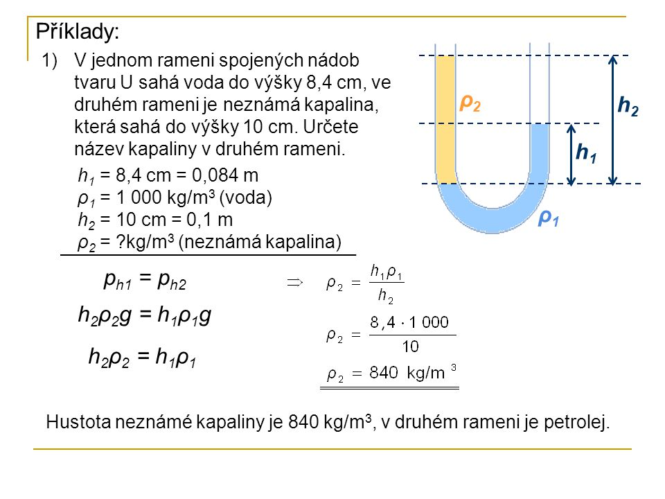Příklady: ρ2 h2 h1 ρ1 ph1 = ph2 h2ρ2g = h1ρ1g h2ρ2 = h1ρ1