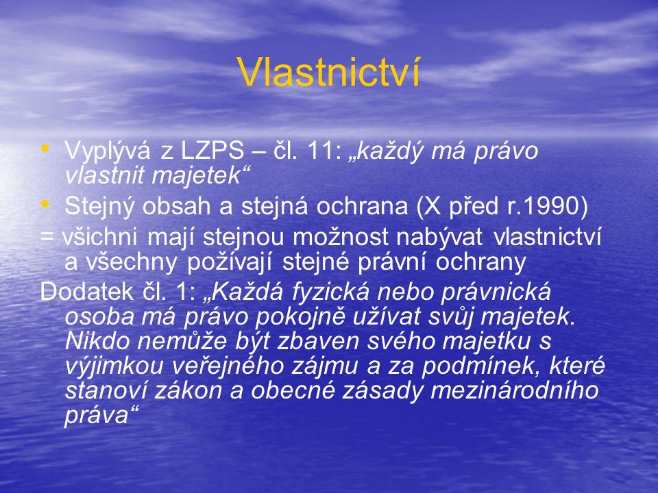 """Vlastnictví Vyplývá z LZPS – čl. 11: """"každý má právo vlastnit majetek"""