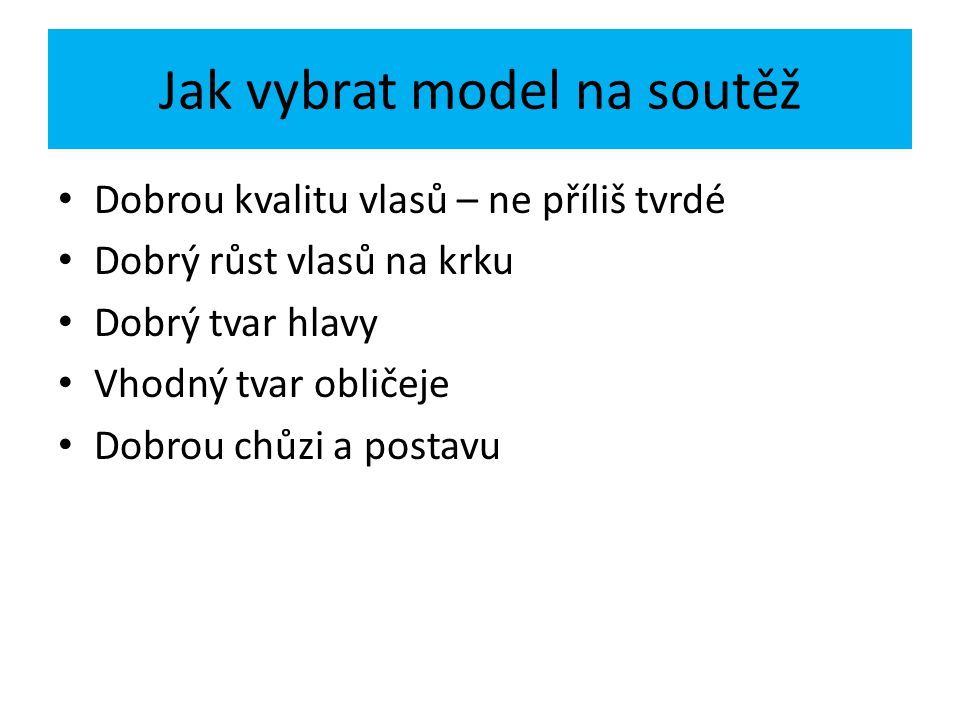 Jak vybrat model na soutěž