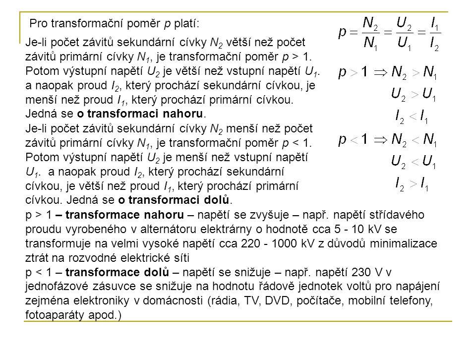 Pro transformační poměr p platí: