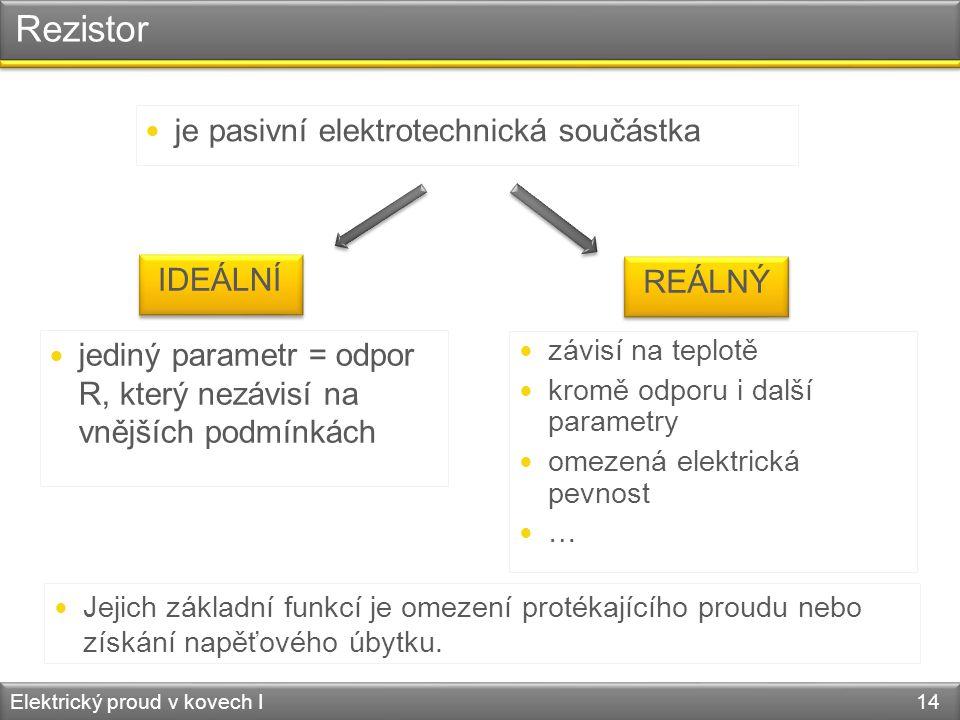 Rezistor je pasivní elektrotechnická součástka IDEÁLNÍ REÁLNÝ