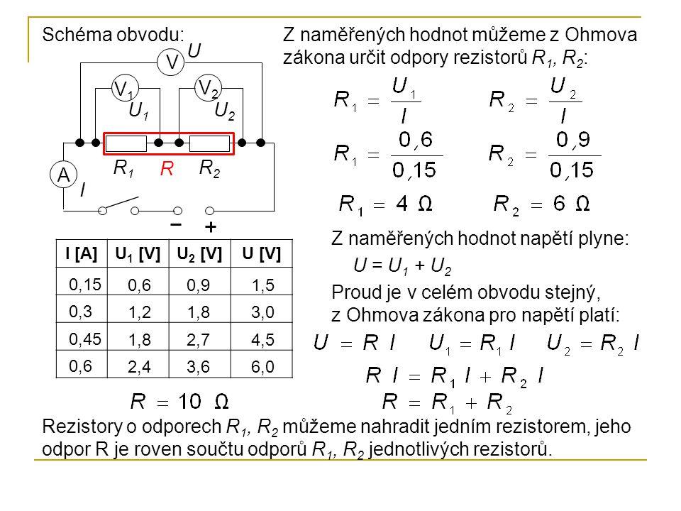 Z naměřených hodnot napětí plyne: U = U1 + U2