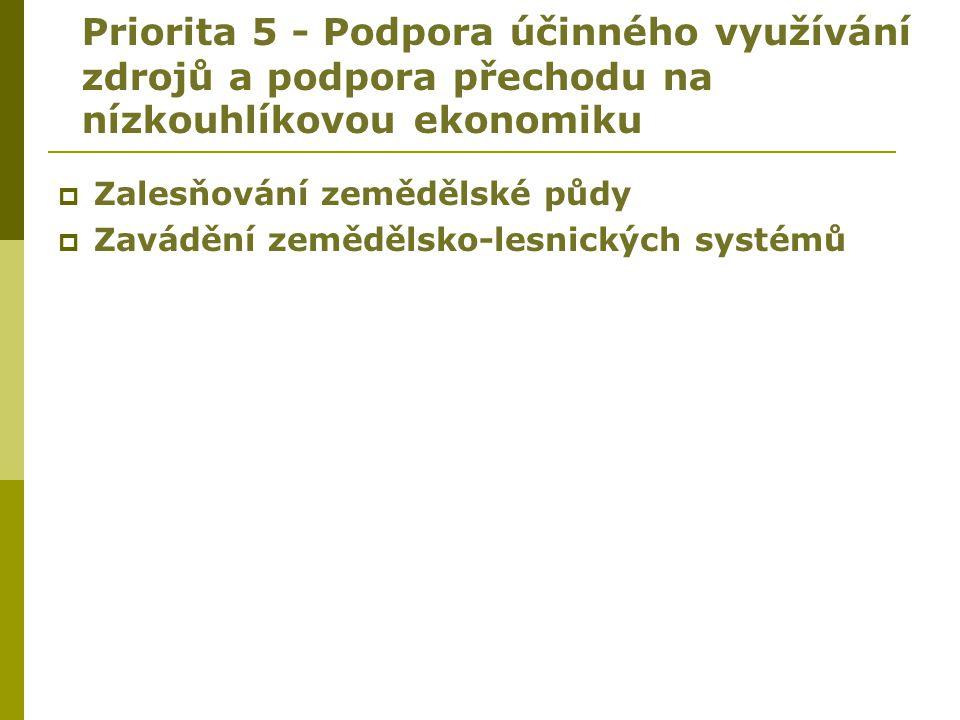Priorita 5 - Podpora účinného využívání zdrojů a podpora přechodu na nízkouhlíkovou ekonomiku
