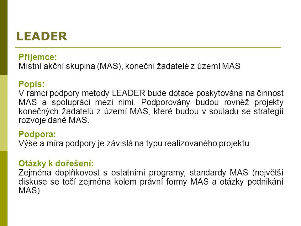 LEADER Příjemce: Místní akční skupina (MAS), koneční žadatelé z území MAS. Popis: