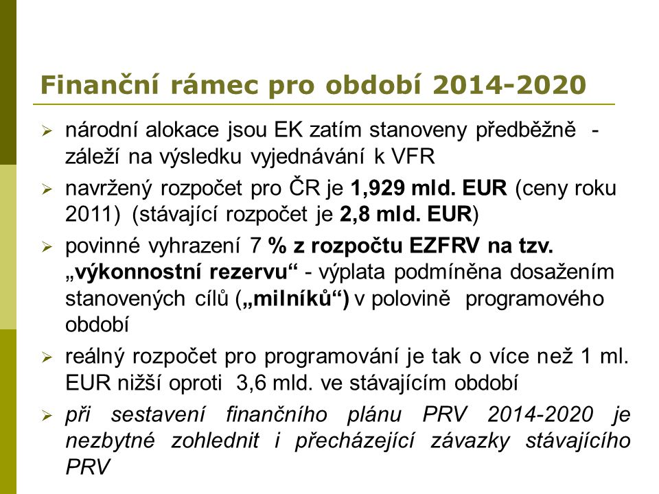 Finanční rámec pro období 2014-2020