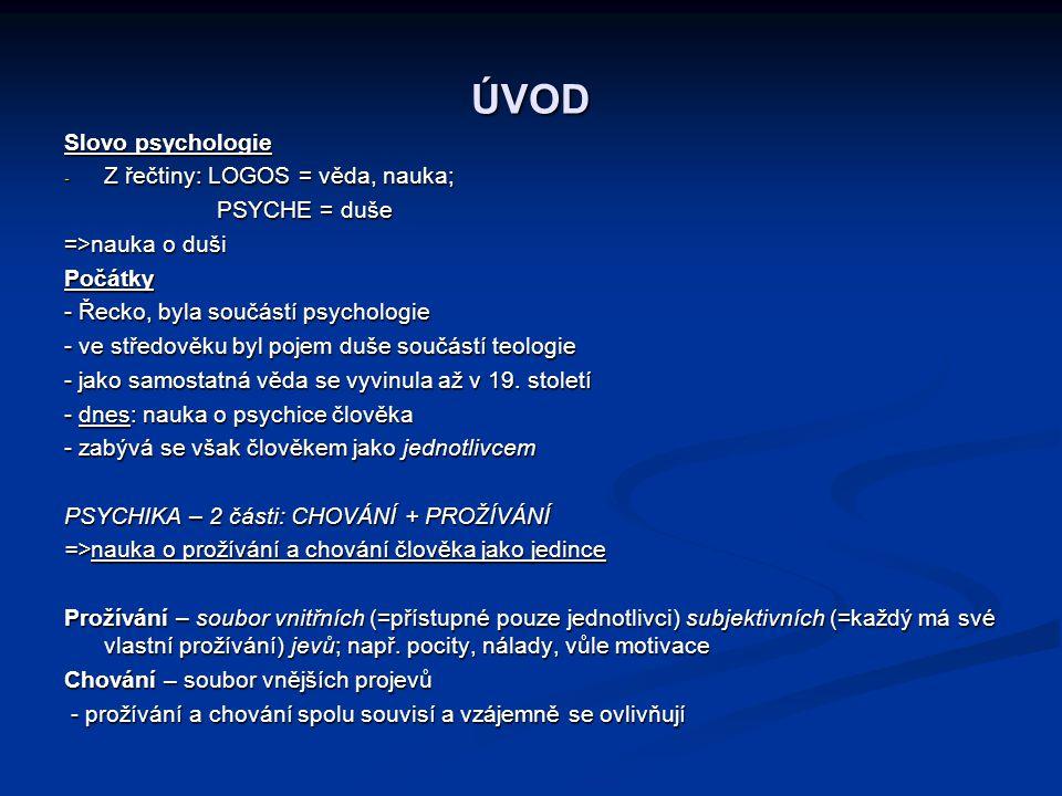 ÚVOD Slovo psychologie Z řečtiny: LOGOS = věda, nauka; PSYCHE = duše
