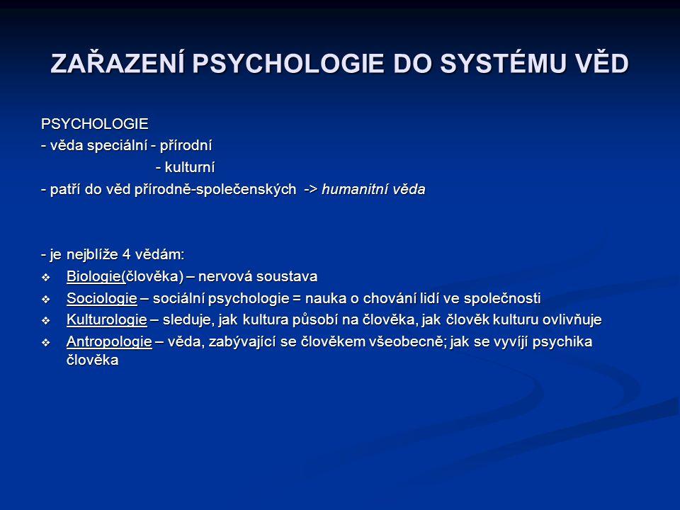 ZAŘAZENÍ PSYCHOLOGIE DO SYSTÉMU VĚD