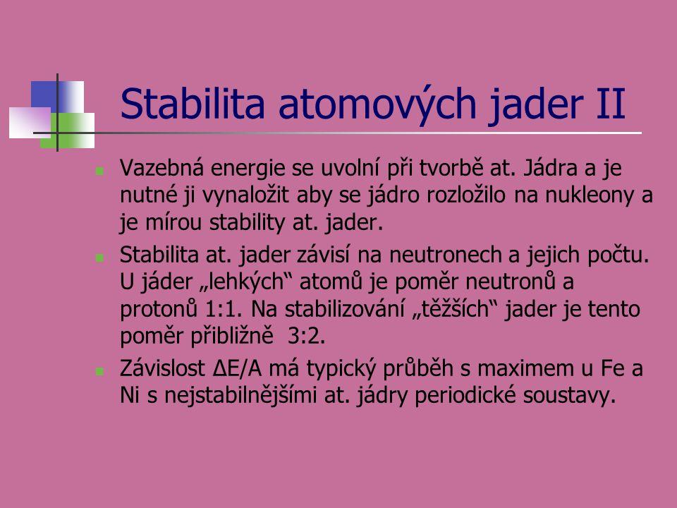 Stabilita atomových jader II