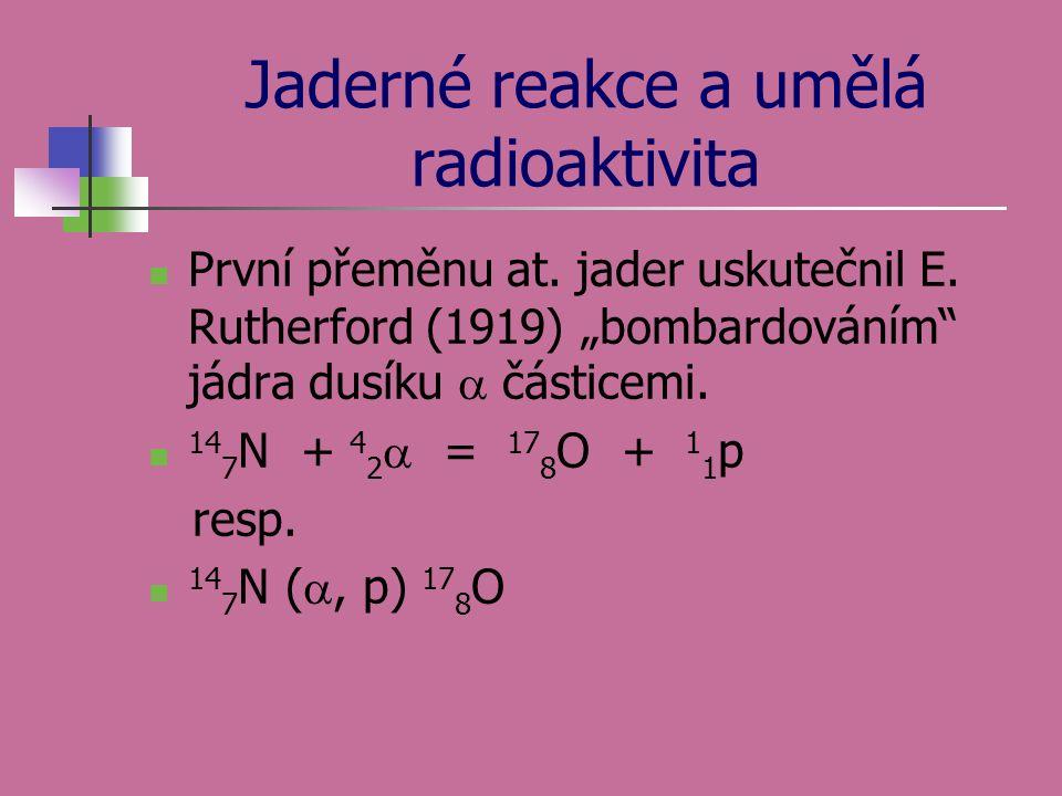 Jaderné reakce a umělá radioaktivita