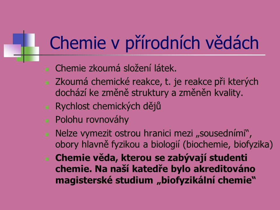 Chemie v přírodních vědách