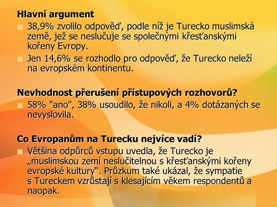 Hlavní argument 38,9% zvolilo odpověď, podle níž je Turecko muslimská země, jež se neslučuje se společnými křesťanskými kořeny Evropy.