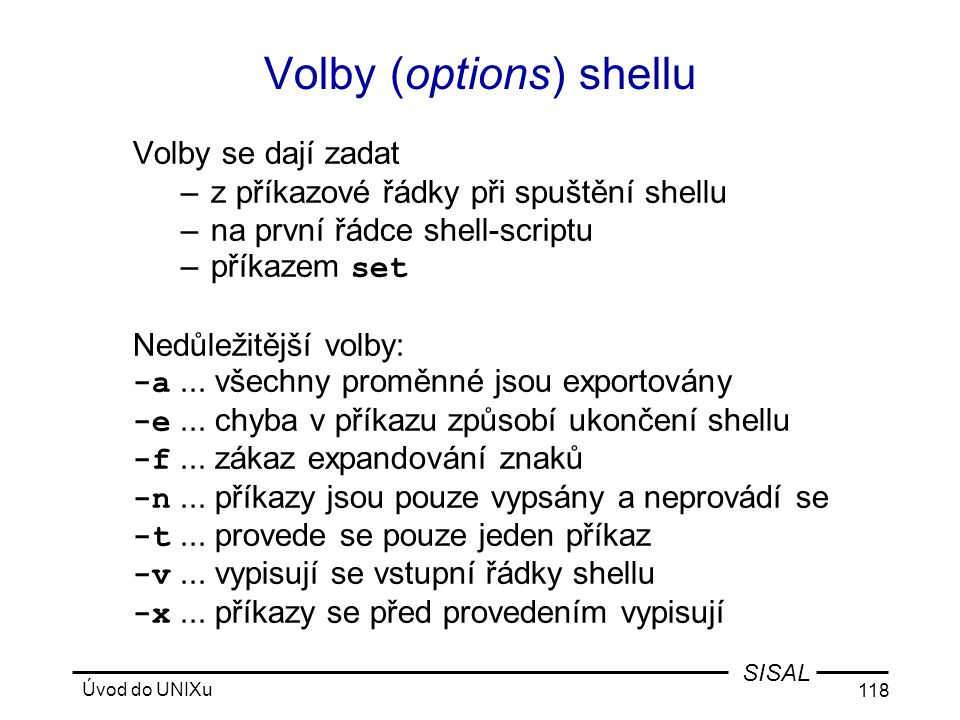 Volby (options) shellu