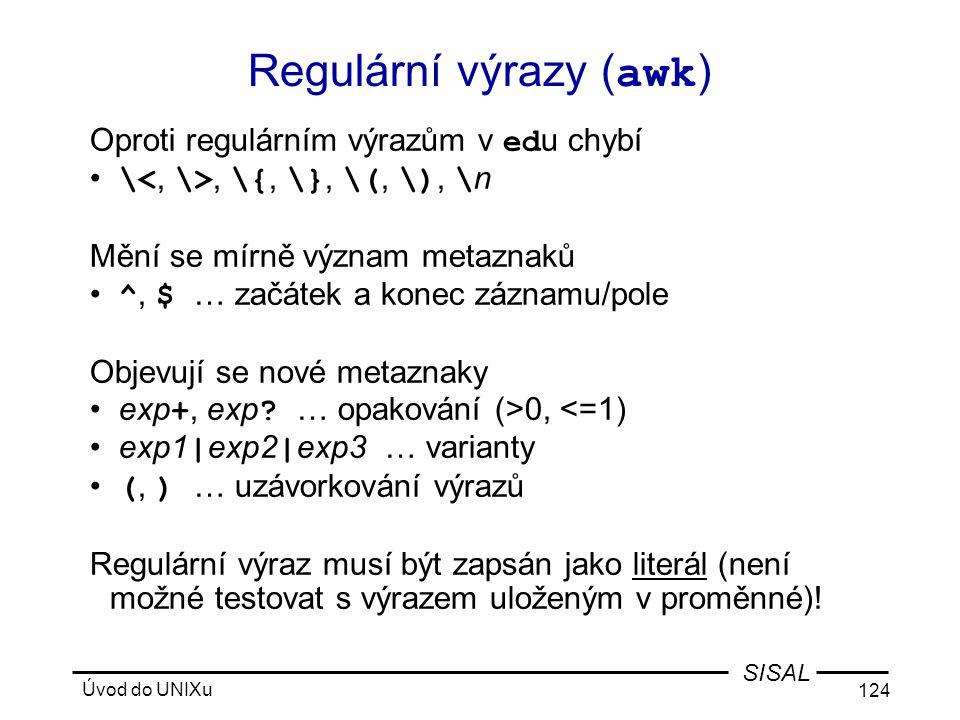 Regulární výrazy (awk)