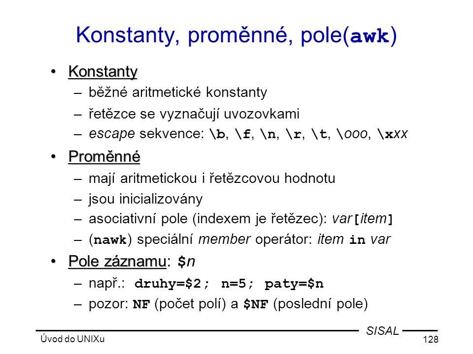 Konstanty, proměnné, pole(awk)